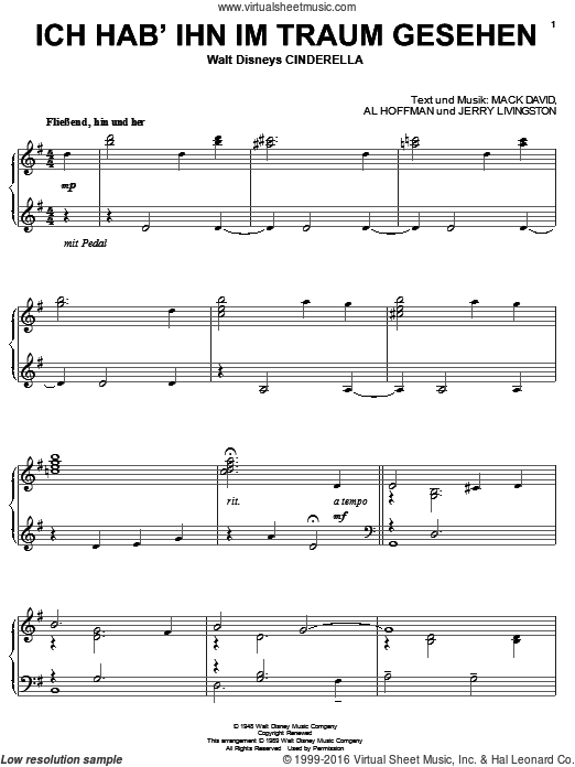 A Dream Is A Wish Your Heart Makes sheet music for piano solo by Mack David