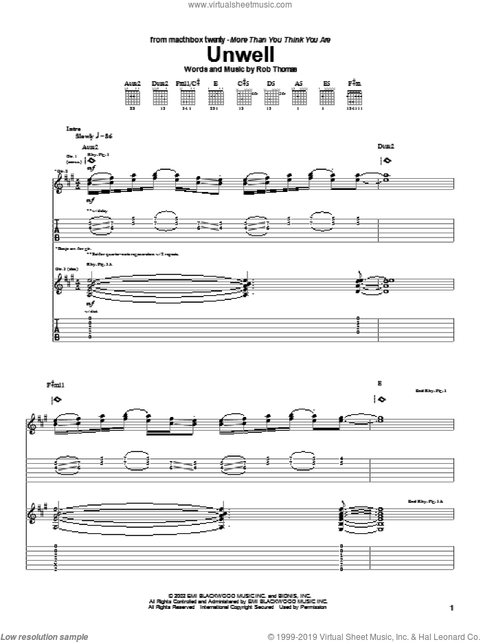 Unwell sheet music for guitar (tablature) by Rob Thomas and Matchbox Twenty. Score Image Preview.