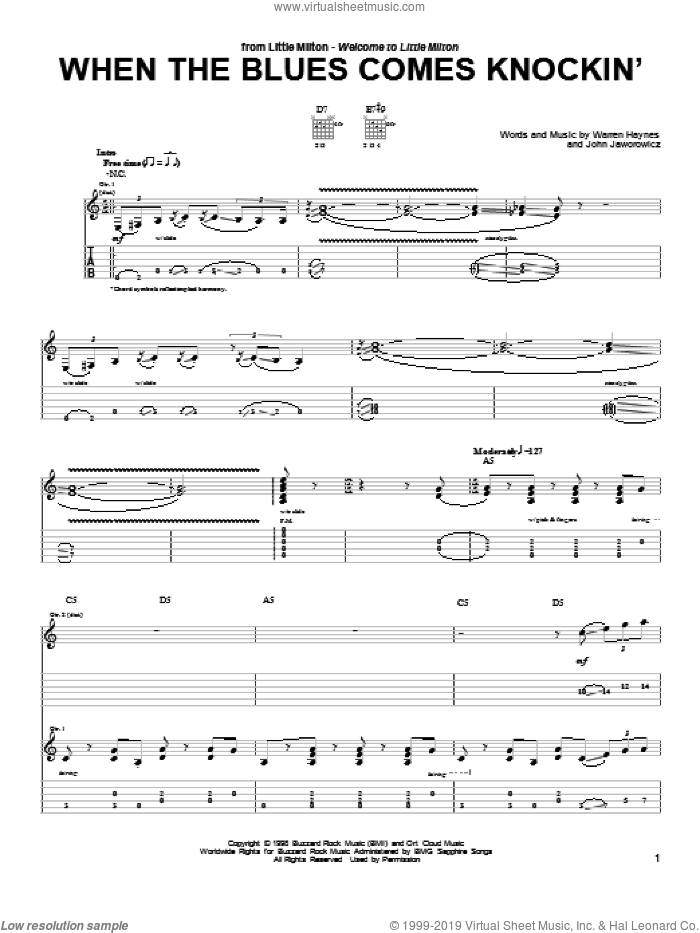 When The Blues Comes Knockin' sheet music for guitar (tablature) by Warren Haynes and John Jaworowicz, intermediate. Score Image Preview.