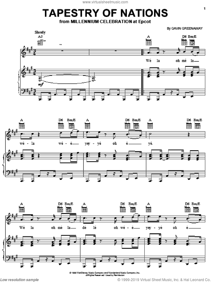 Tapestry Of Nations sheet music for voice, piano or guitar by Gavin Greenaway. Score Image Preview.