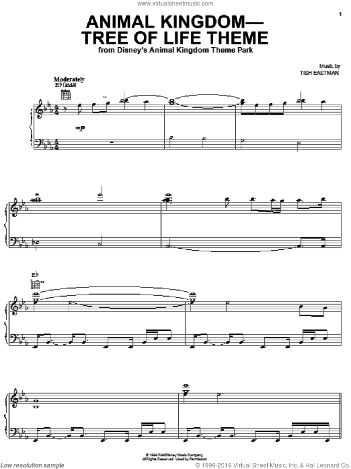 Animal Kingdom - Tree Of Life Theme sheet music for voice, piano or guitar by Tish Eastman, intermediate skill level