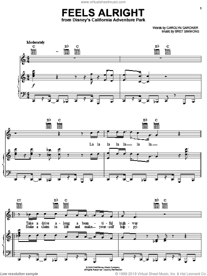 Feels Alright sheet music for voice, piano or guitar by Bret Simmons