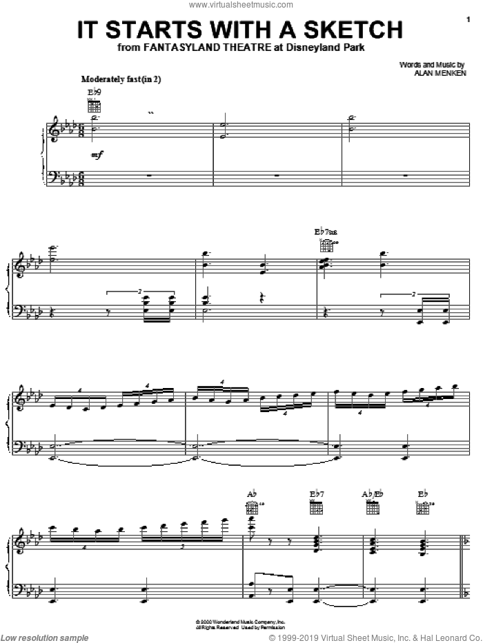 It Starts With A Sketch sheet music for voice, piano or guitar by Alan Menken, intermediate skill level