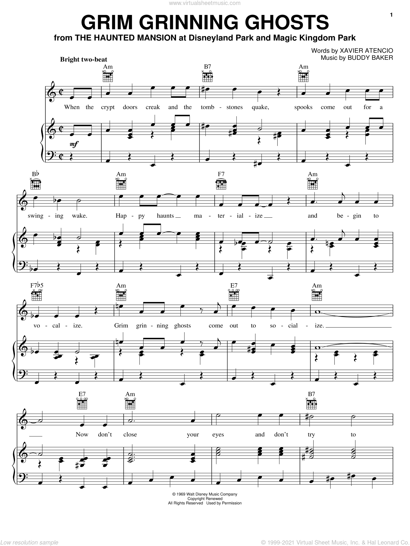 Grim Grinning Ghosts sheet music for voice, piano or guitar by Buddy Baker and Xavier Atencio. Score Image Preview.