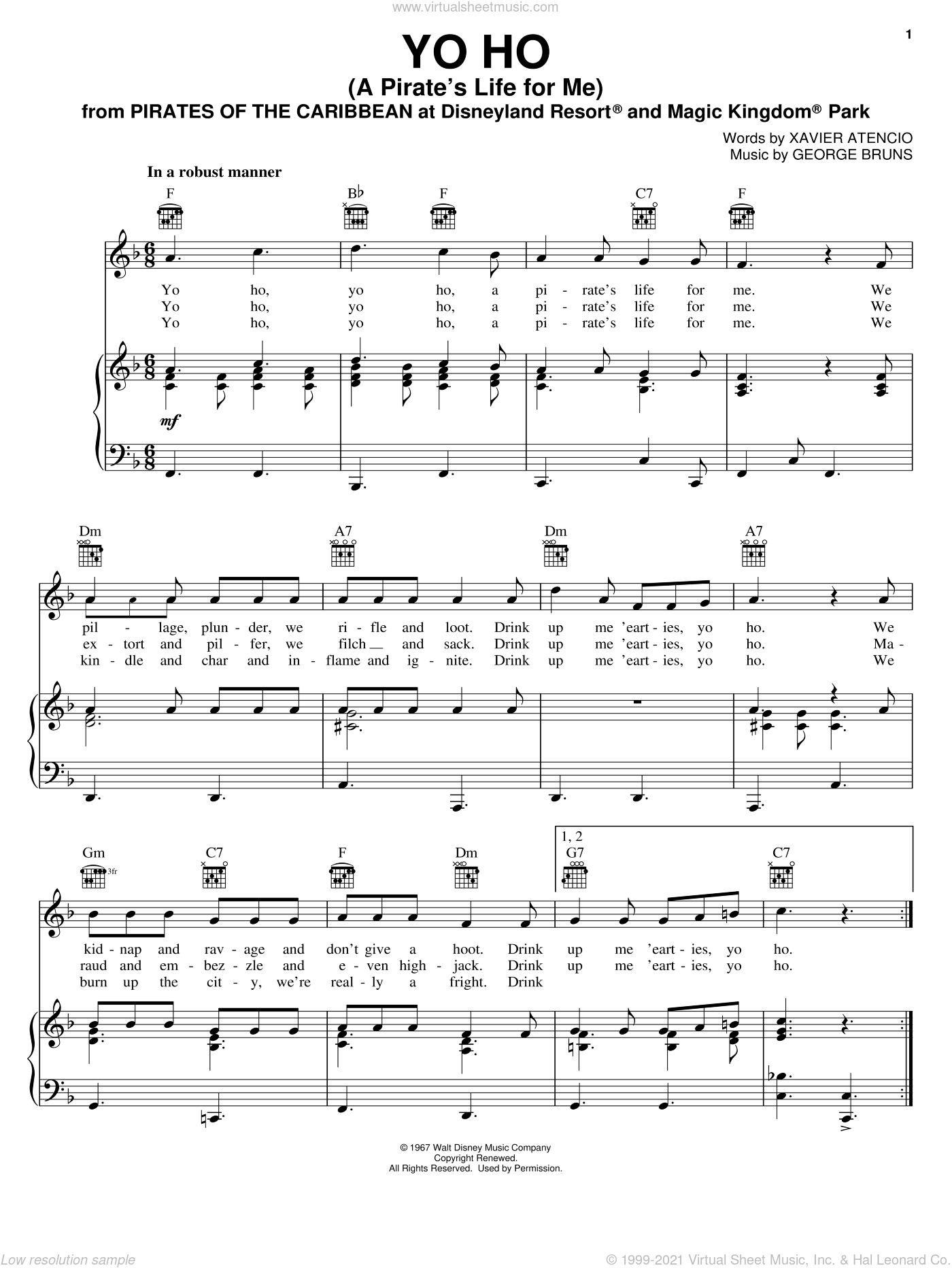 Yo Ho (A Pirate's Life For Me) sheet music for voice, piano or guitar by Xavier Atencio and George Bruns, intermediate voice, piano or guitar. Score Image Preview.