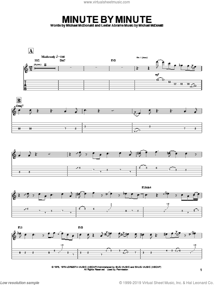 Minute By Minute sheet music for guitar (tablature) by The Doobie Brothers, Lester Abrams and Michael McDonald, intermediate. Score Image Preview.