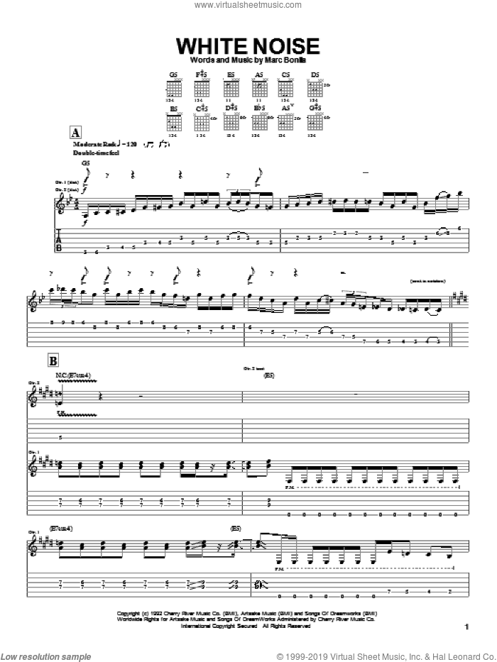 White Noise sheet music for guitar (tablature) by Marc Bonilla. Score Image Preview.