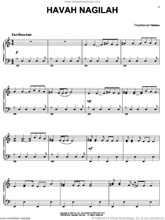 Hava Nagilah sheet music for piano solo by Neil Diamond, intermediate skill level