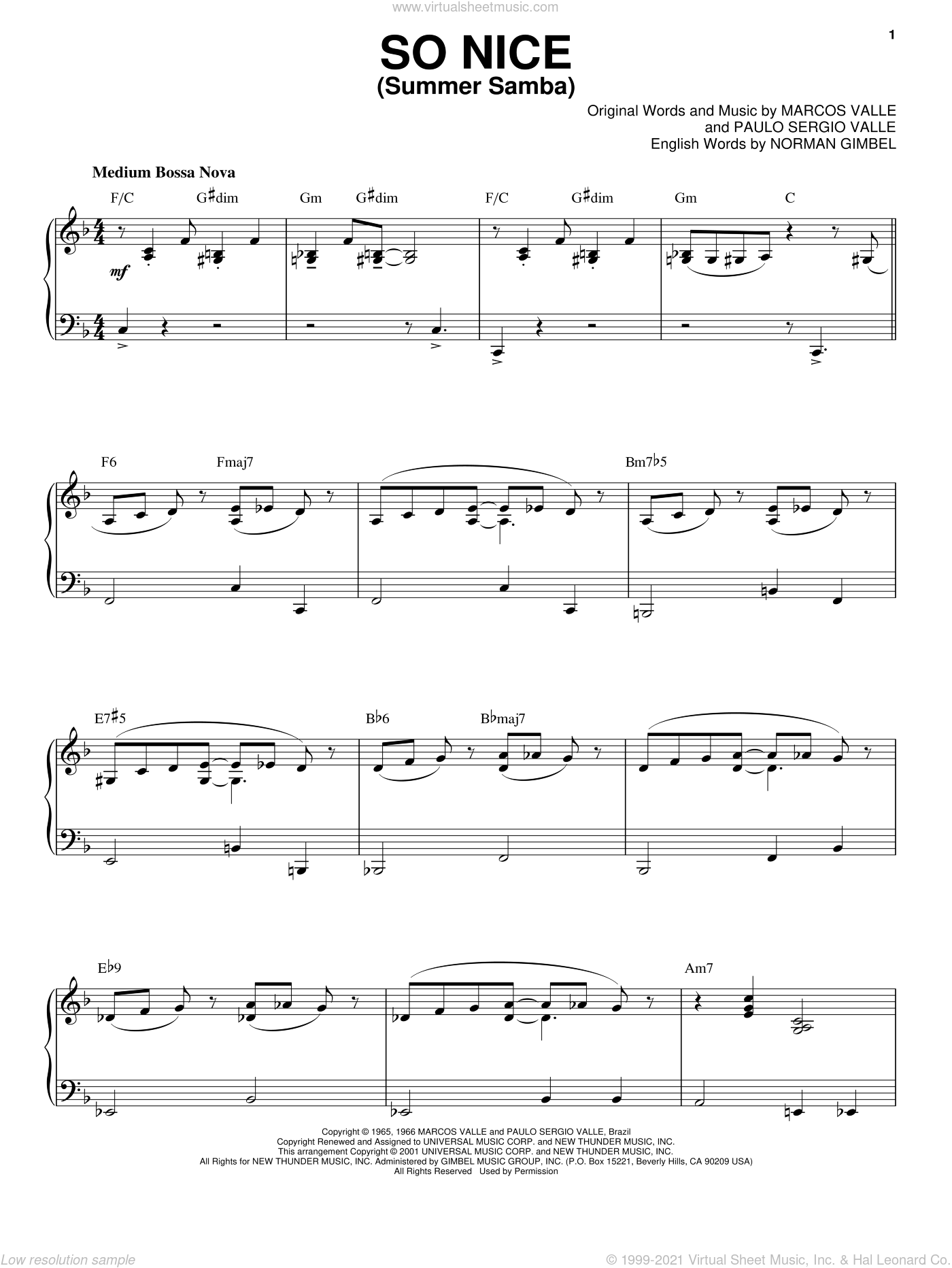 So Nice (Summer Samba), (intermediate) sheet music for piano solo by Marcos Valle, Norman Gimbel and Paulo Sergio Valle, intermediate skill level