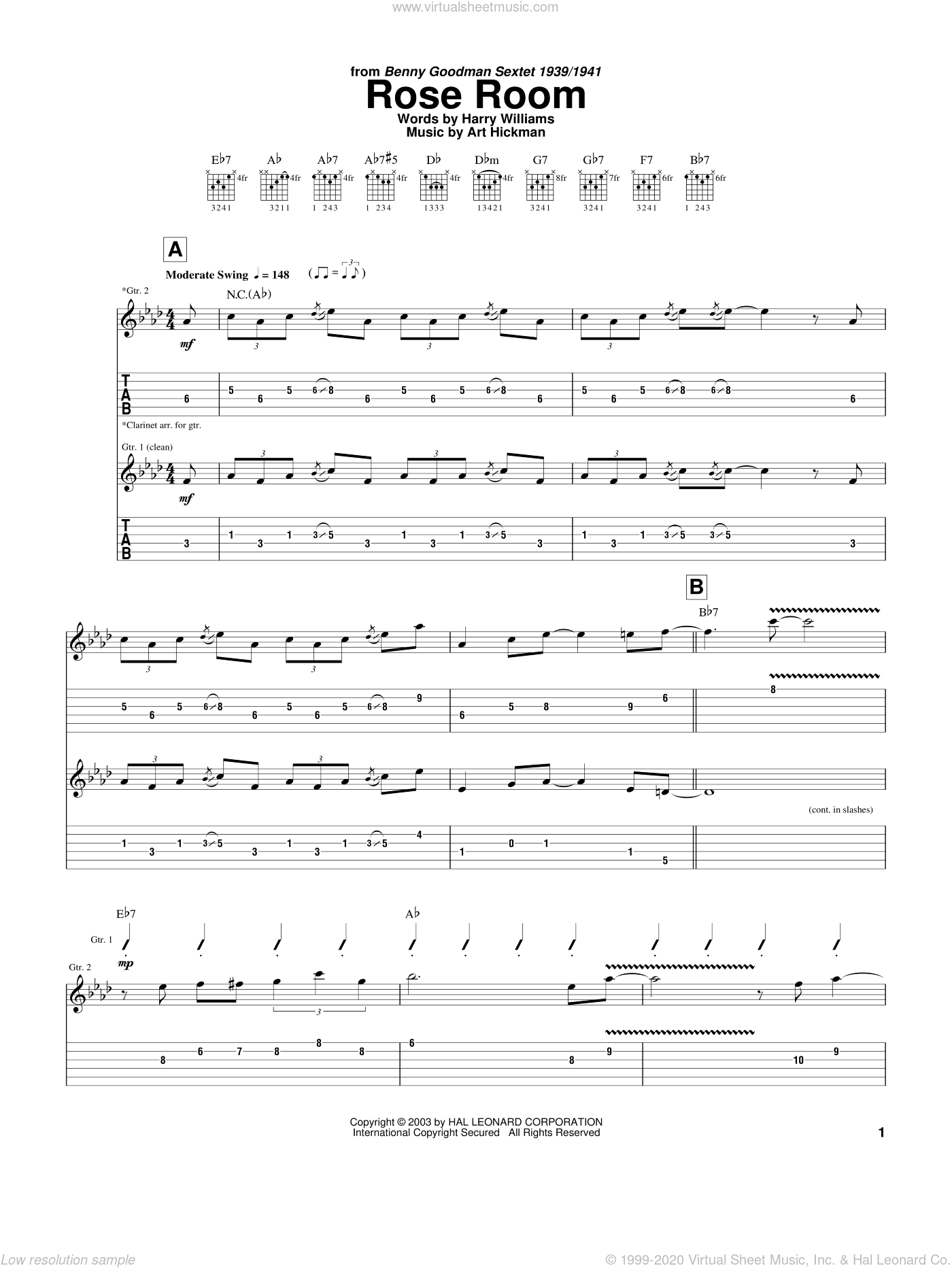 Rose Room sheet music for guitar (tablature) by Charlie Christian, Benny Goodman, Art Hickman and Harry Williams. Score Image Preview.