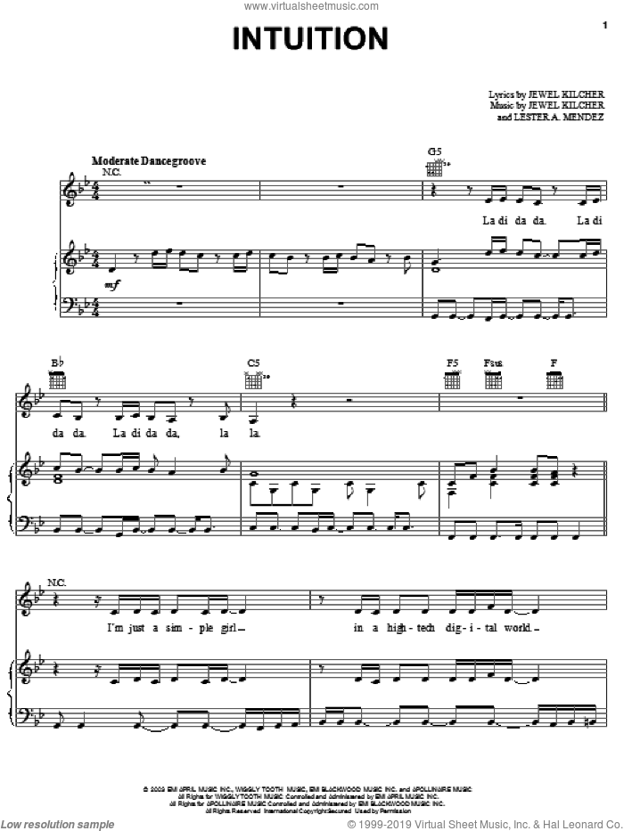 Intuition sheet music for voice, piano or guitar by Jewel, Jewel Kilcher and Lester Mendez, intermediate skill level