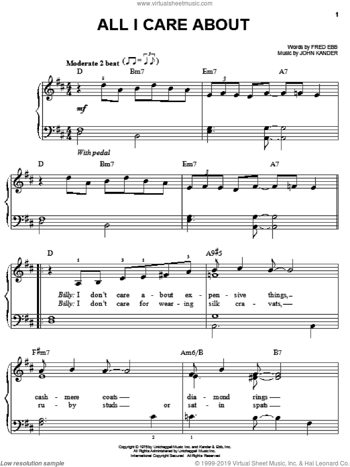 All I Care About sheet music for piano solo by Fred Ebb and John Kander, easy skill level