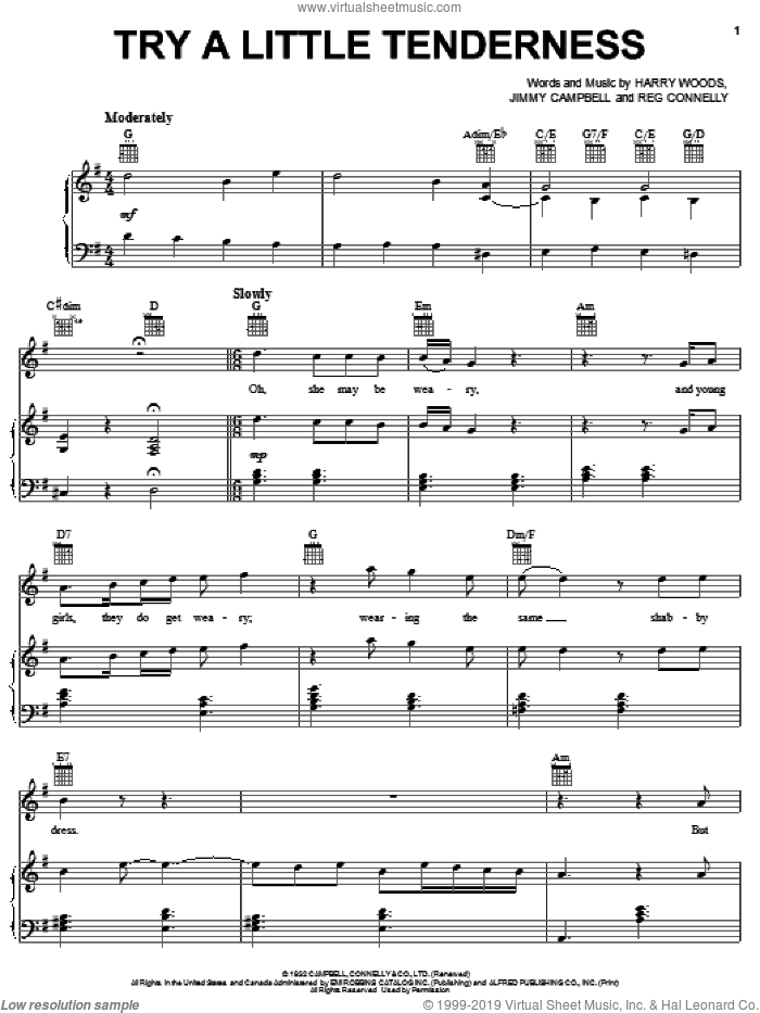 Try A Little Tenderness sheet music for voice, piano or guitar by Reg Connelly