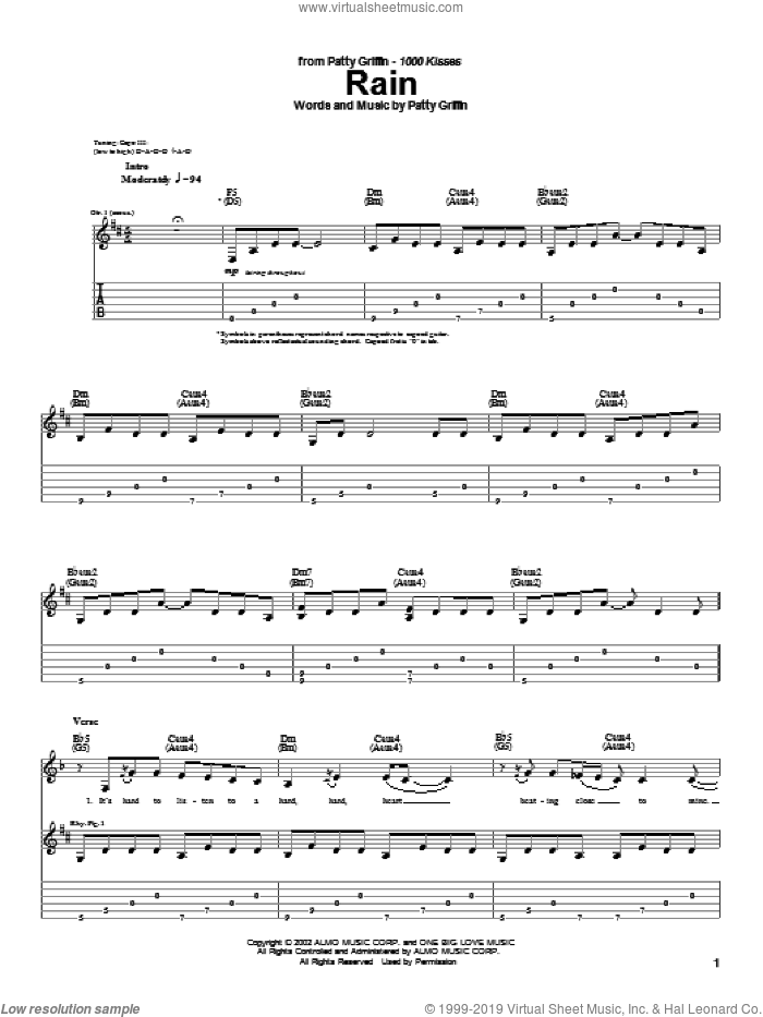 Rain sheet music for guitar (tablature) by Patty Griffin, intermediate skill level