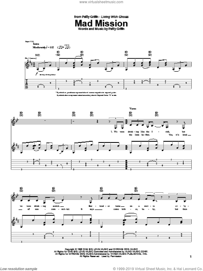 Mad Mission sheet music for guitar (tablature) by Patty Griffin, intermediate skill level