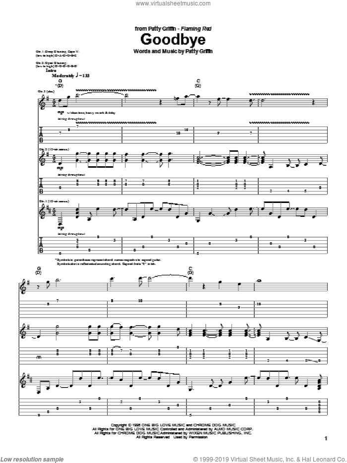Goodbye sheet music for guitar (tablature) by Patty Griffin. Score Image Preview.