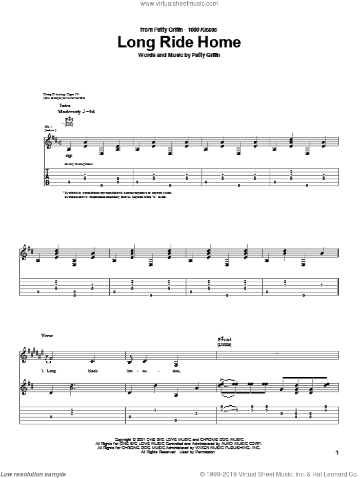 Long Ride Home sheet music for guitar (tablature) by Patty Griffin, intermediate skill level