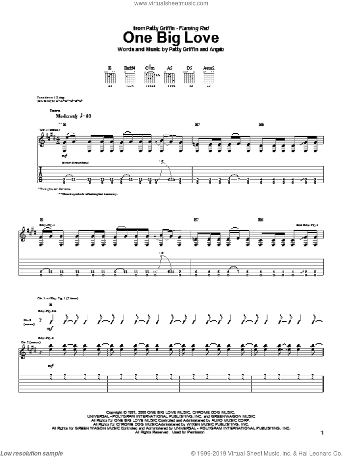 One Big Love sheet music for guitar (tablature) by Patty Griffin. Score Image Preview.