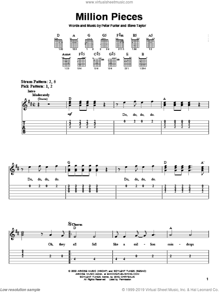 Million Pieces sheet music for guitar solo (easy tablature) by Newsboys, Peter Furler and Steve Taylor, easy guitar (easy tablature). Score Image Preview.