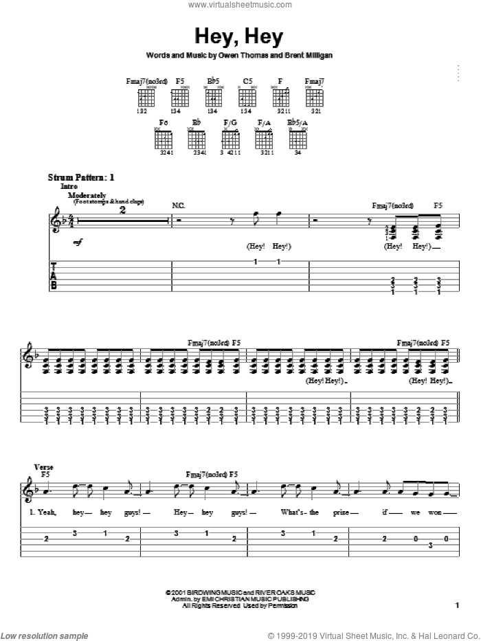 Hey, Hey sheet music for guitar solo (easy tablature) by The Elms, Brent Milligan and Owen Thomas, easy guitar (easy tablature)