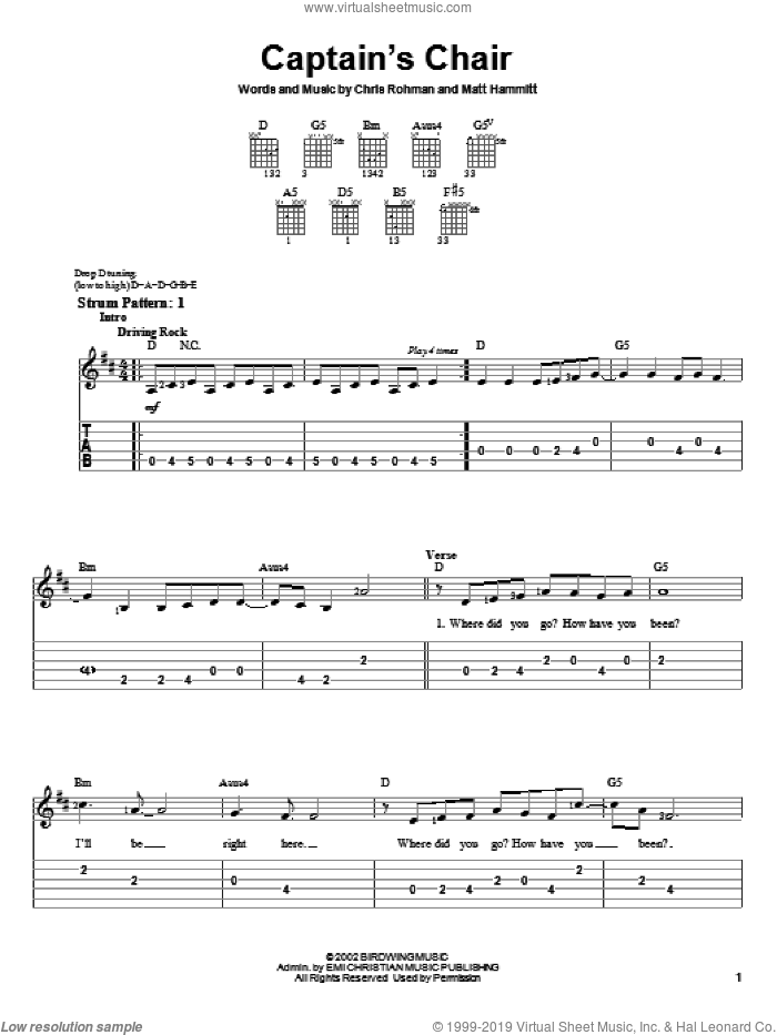 Captain's Chair sheet music for guitar solo (easy tablature) by Sanctus Real, Chris Rohman and Matt Hammitt, easy guitar (easy tablature)