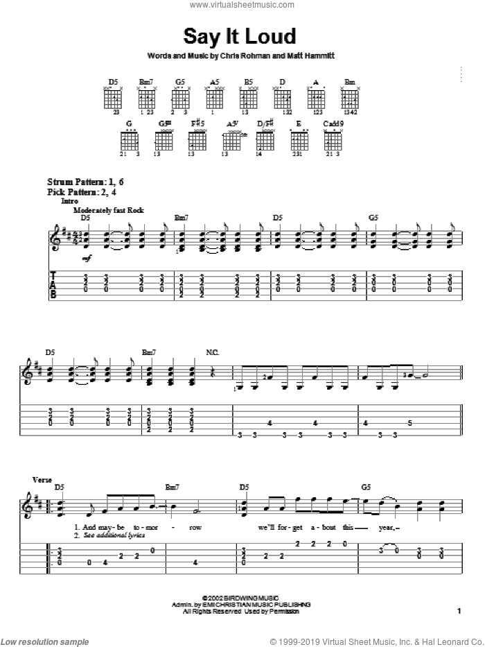 Say It Loud sheet music for guitar solo (easy tablature) by Matt Hammitt. Score Image Preview.