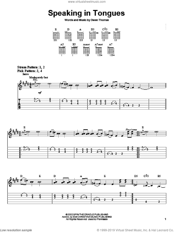 Speaking In Tongues sheet music for guitar solo (easy tablature) by The Elms and Owen Thomas, easy guitar (easy tablature)