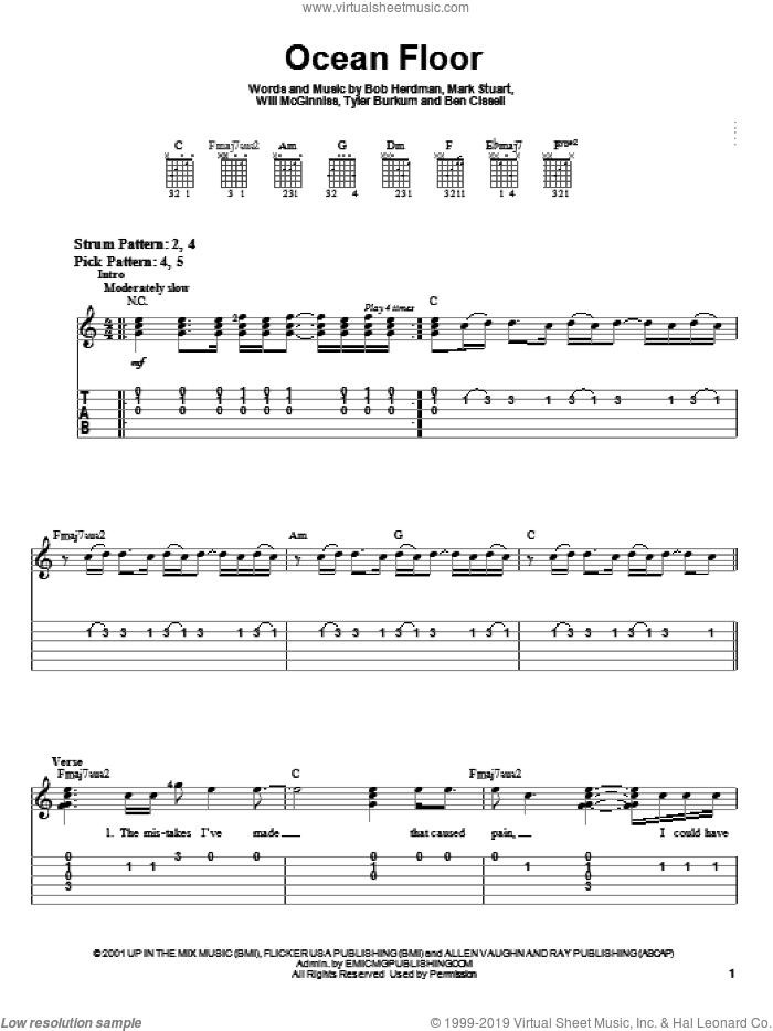 Ocean Floor sheet music for guitar solo (easy tablature) by Audio Adrenaline, Bob Herdman, Mark Stuart and Will McGinniss, easy guitar (easy tablature)