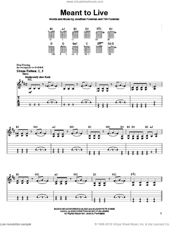 Meant To Live sheet music for guitar solo (easy tablature) by Switchfoot and Jonathan Foreman, easy guitar (easy tablature). Score Image Preview.