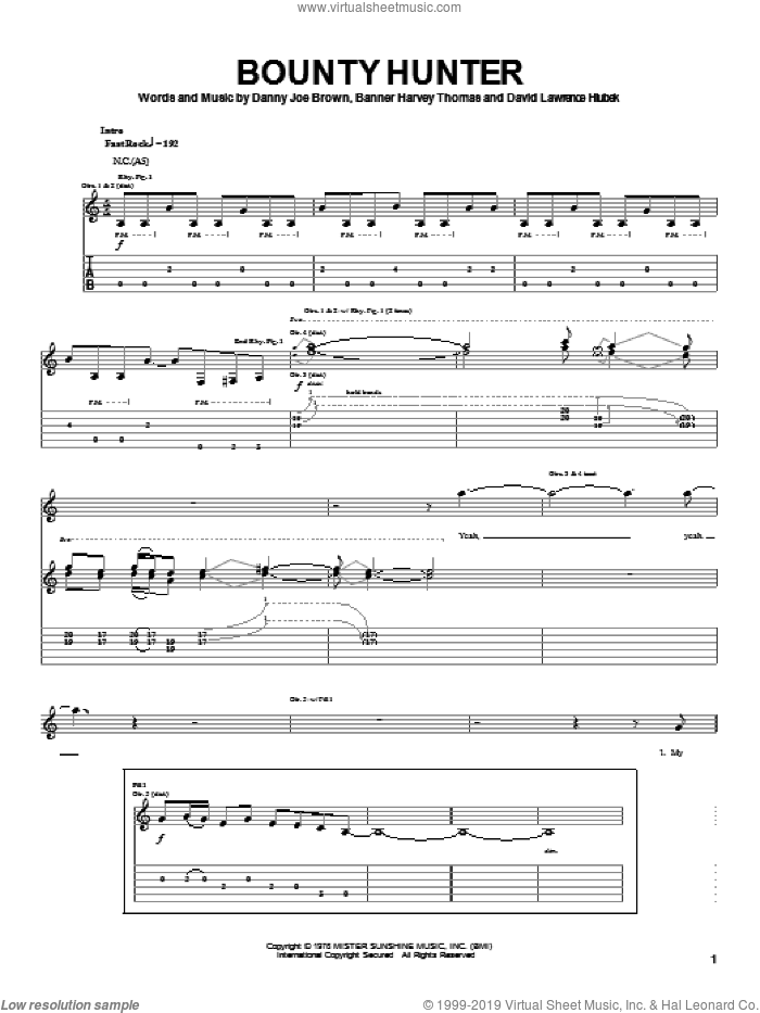 Bounty Hunter sheet music for guitar (tablature) by Molly Hatchet, Banner Harvey Thomas, Danny Joe Brown and David Lawrence Hlubek, intermediate skill level
