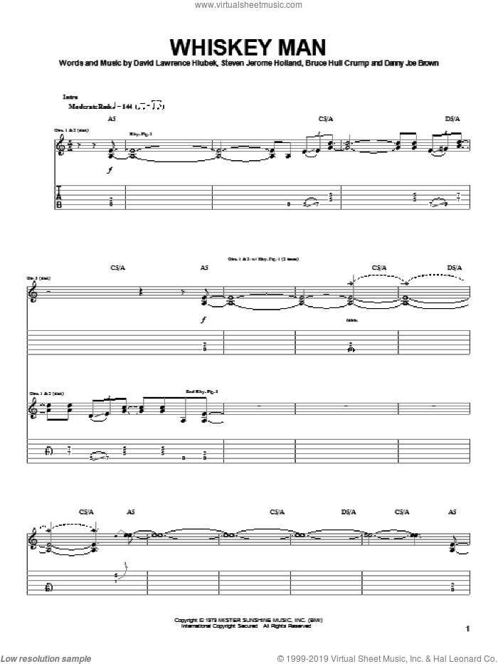 Whiskey Man sheet music for guitar (tablature) by Molly Hatchet, Bruce Hull Crump, David Lawrence Hlubek and Steven Jerome Holland, intermediate skill level