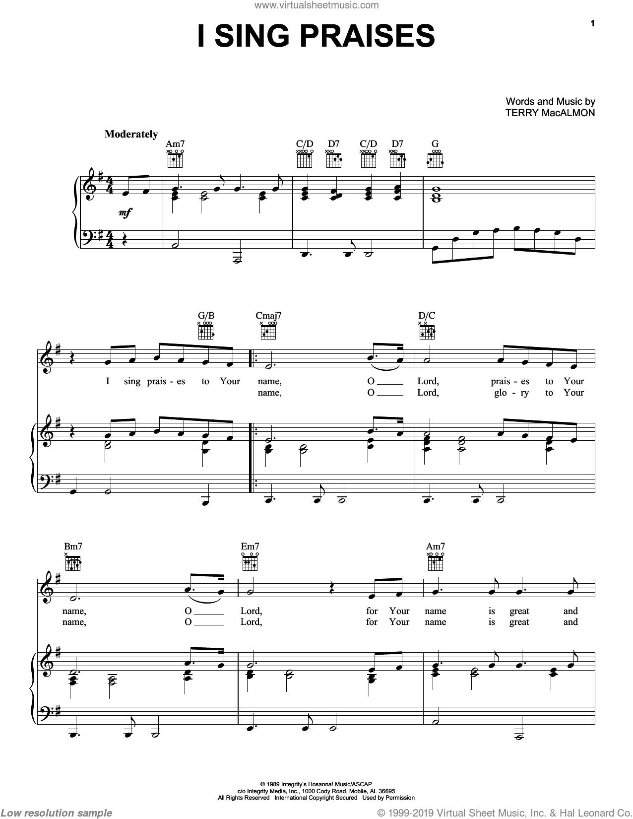 I Sing Praises sheet music for voice, piano or guitar by Terry MacAlmon, intermediate. Score Image Preview.