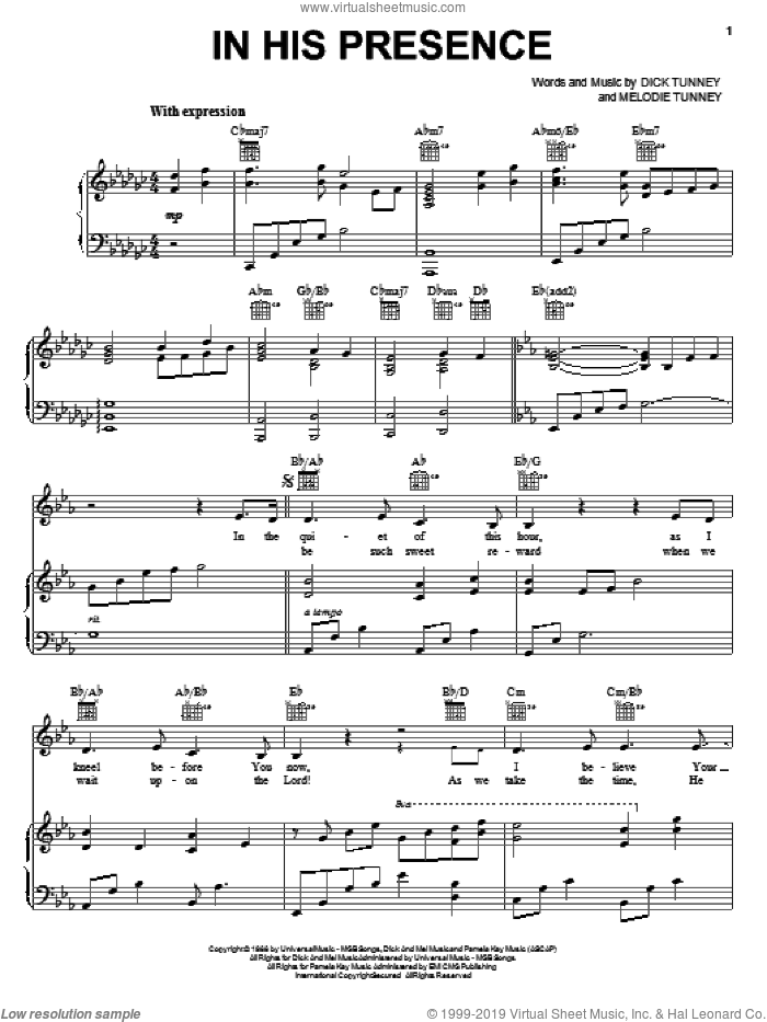 In His Presence sheet music for voice, piano or guitar by Melodie Tunney. Score Image Preview.