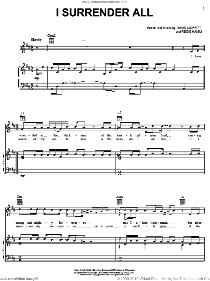 I Surrender All sheet music for voice, piano or guitar by Clay Crosse, David Moffitt and Regie Hamm, intermediate skill level