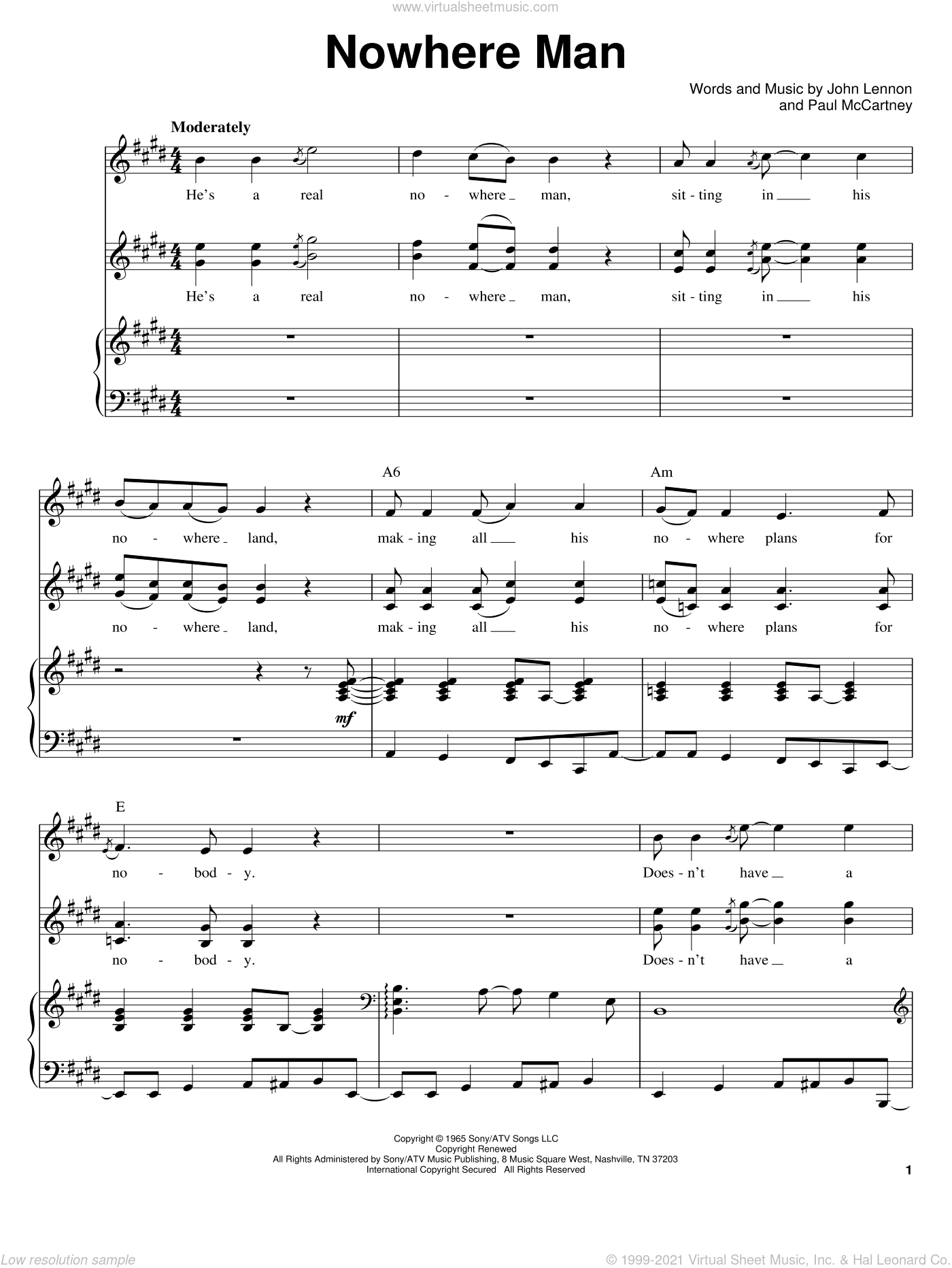 Nowhere Man sheet music for voice and piano by The Beatles, John Lennon and Paul McCartney, intermediate skill level
