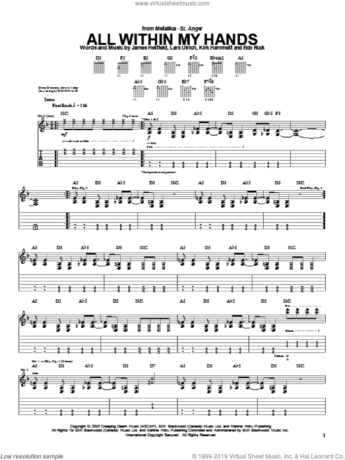 All Within My Hands sheet music for guitar (tablature) by Metallica, intermediate guitar (tablature). Score Image Preview.