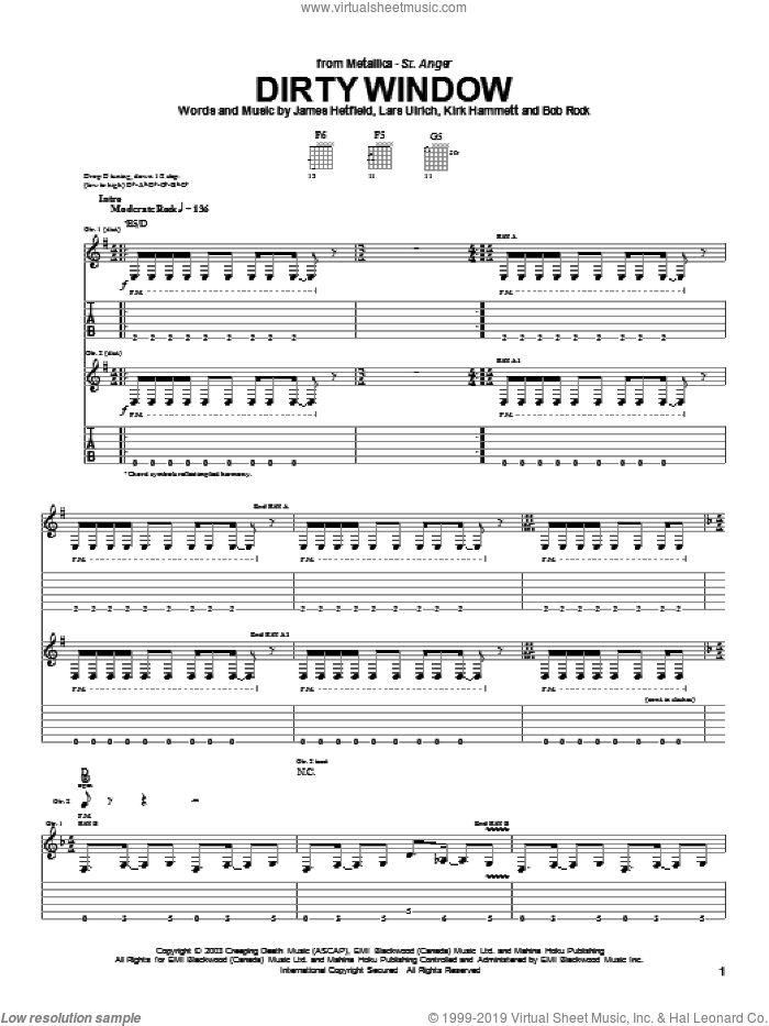Dirty Window sheet music for guitar (tablature) by Lars Ulrich