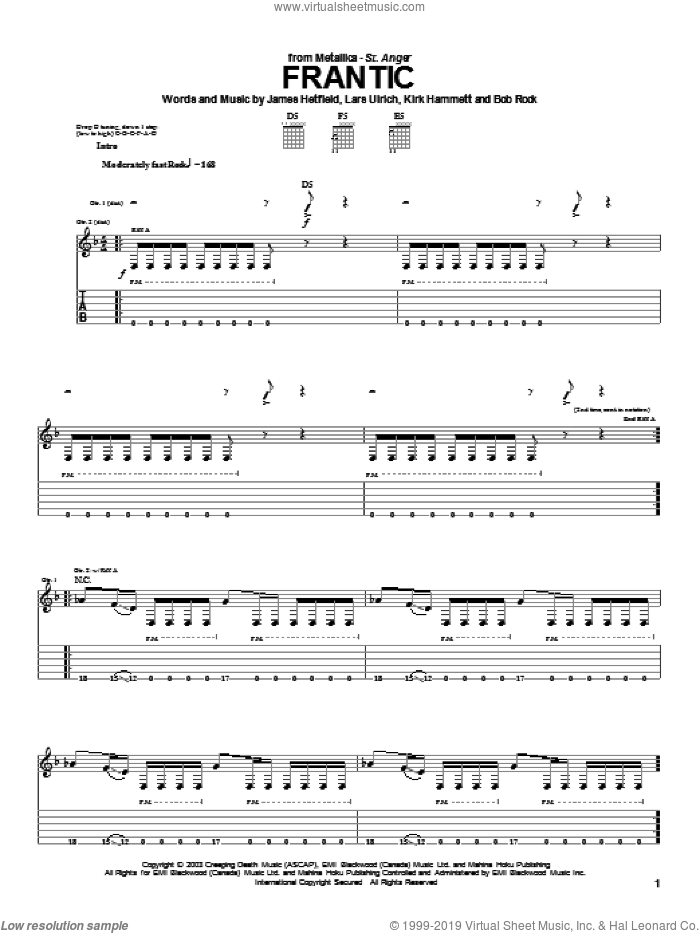 Frantic sheet music for guitar (tablature) by Lars Ulrich, Metallica and James Hetfield. Score Image Preview.