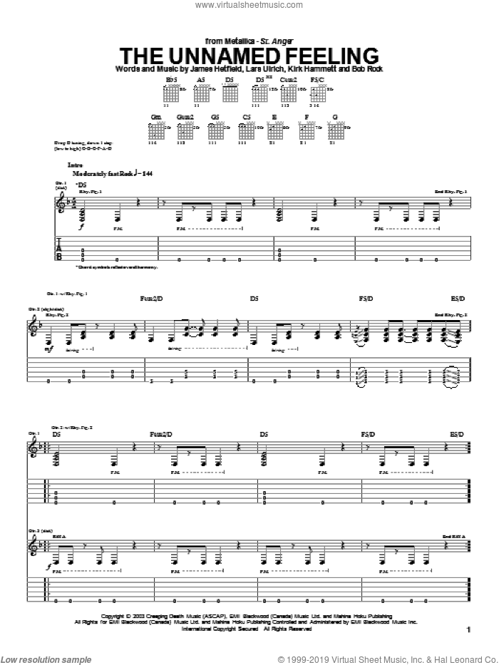The Unnamed Feeling sheet music for guitar (tablature) by Metallica, intermediate. Score Image Preview.