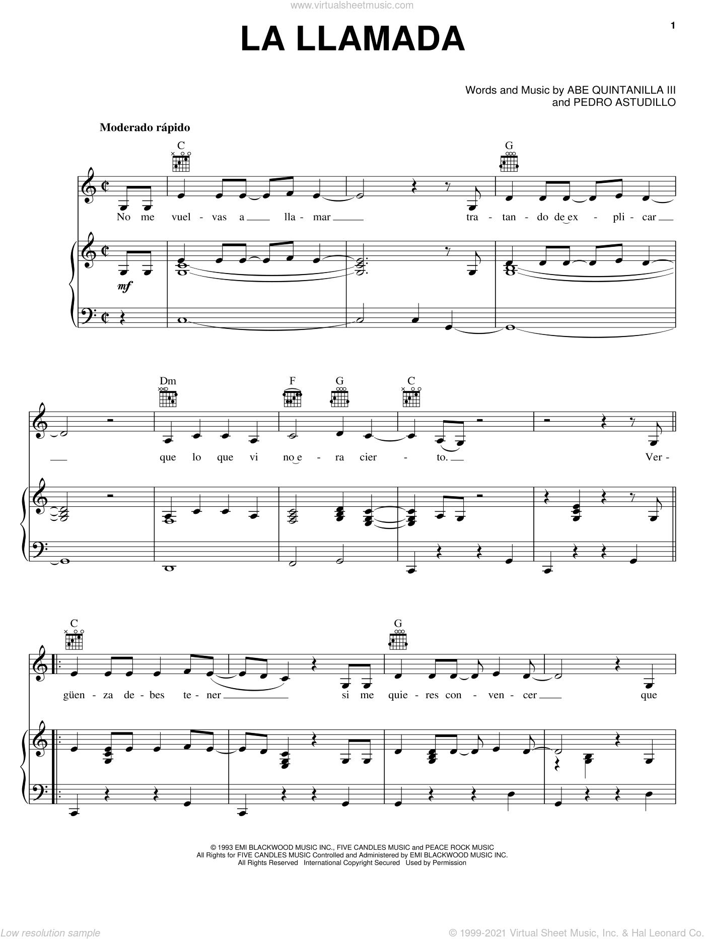 La Llamada sheet music for voice, piano or guitar by Pete Astudillo
