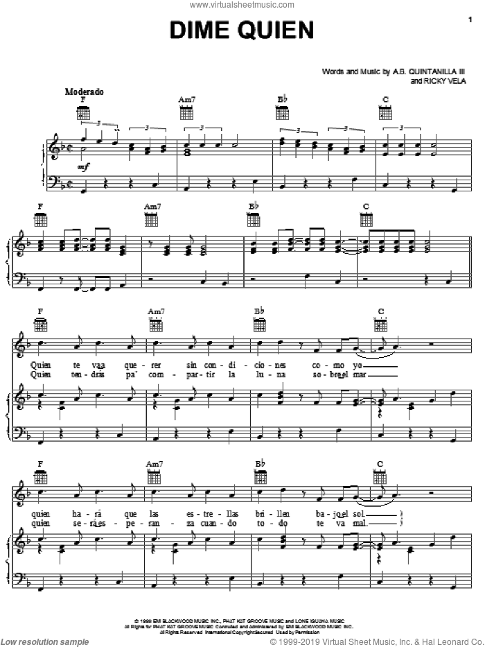 Dime Quien sheet music for voice, piano or guitar by Ricky Vela. Score Image Preview.