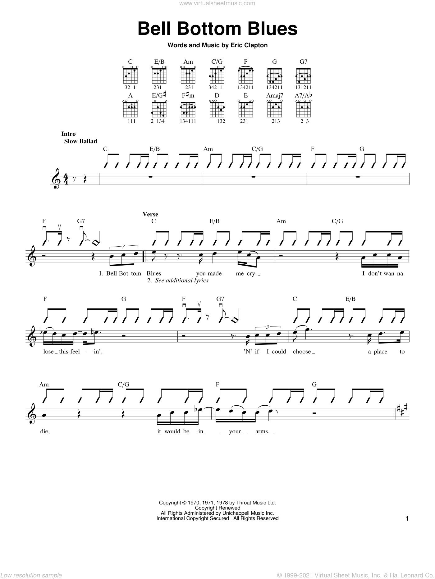 Bell Bottom Blues sheet music for guitar solo (chords) by Derek And The Dominos and Eric Clapton, easy guitar (chords)