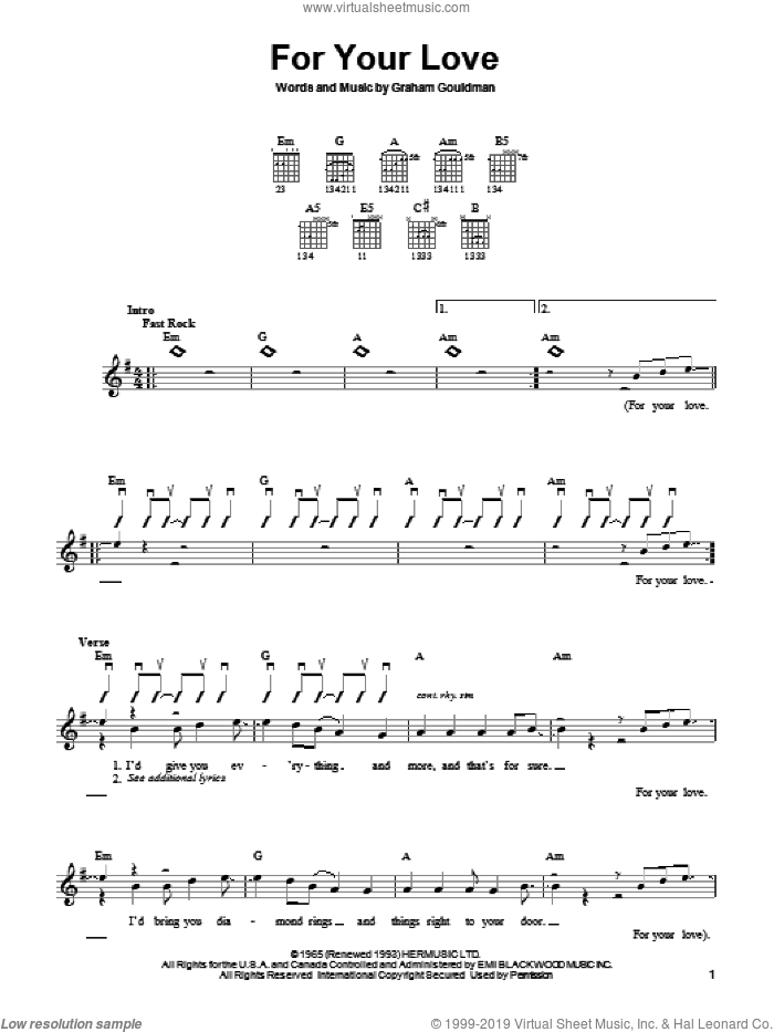 For Your Love sheet music for guitar solo (chords) by The Yardbirds, Eric Clapton and Graham Gouldman, easy guitar (chords)