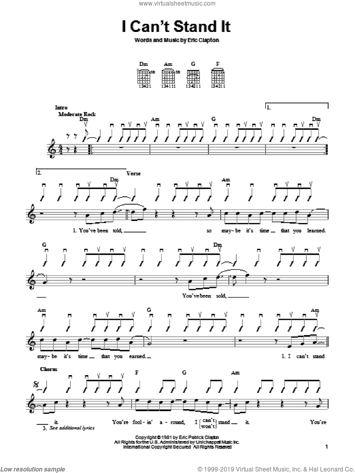 Clapton I Cant Stand It Sheet Music For Guitar Solo Chords