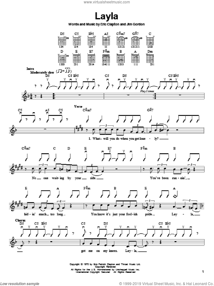 Layla sheet music for guitar solo (chords) by Eric Clapton, Derek And The Dominos and Jim Gordon, easy guitar (chords). Score Image Preview.
