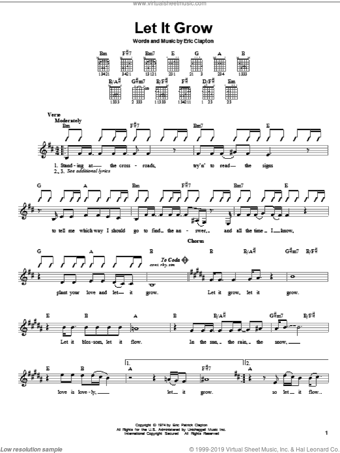 Let It Grow sheet music for guitar solo (chords) by Eric Clapton, easy guitar (chords). Score Image Preview.