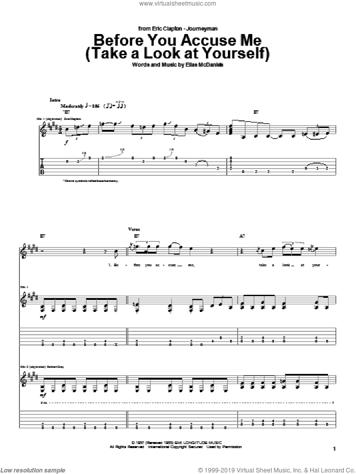 Before You Accuse Me (Take A Look At Yourself) sheet music for guitar (tablature) by Eric Clapton and Creedence Clearwater Revival. Score Image Preview.