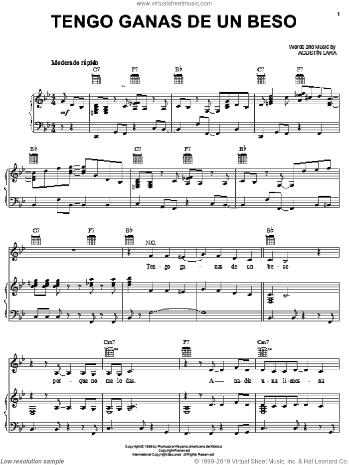 Tengo Ganas De Un Beso sheet music for voice, piano or guitar by Agustin Lara, intermediate voice, piano or guitar. Score Image Preview.