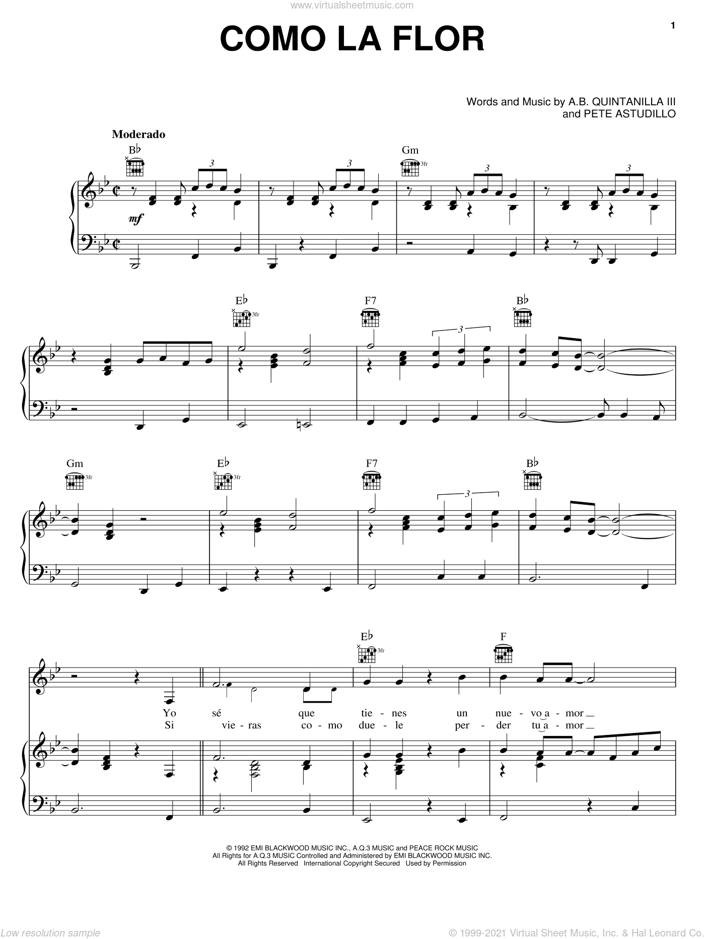 Como La Flor sheet music for voice, piano or guitar by Selena and Abe Quintanilla III. Score Image Preview.