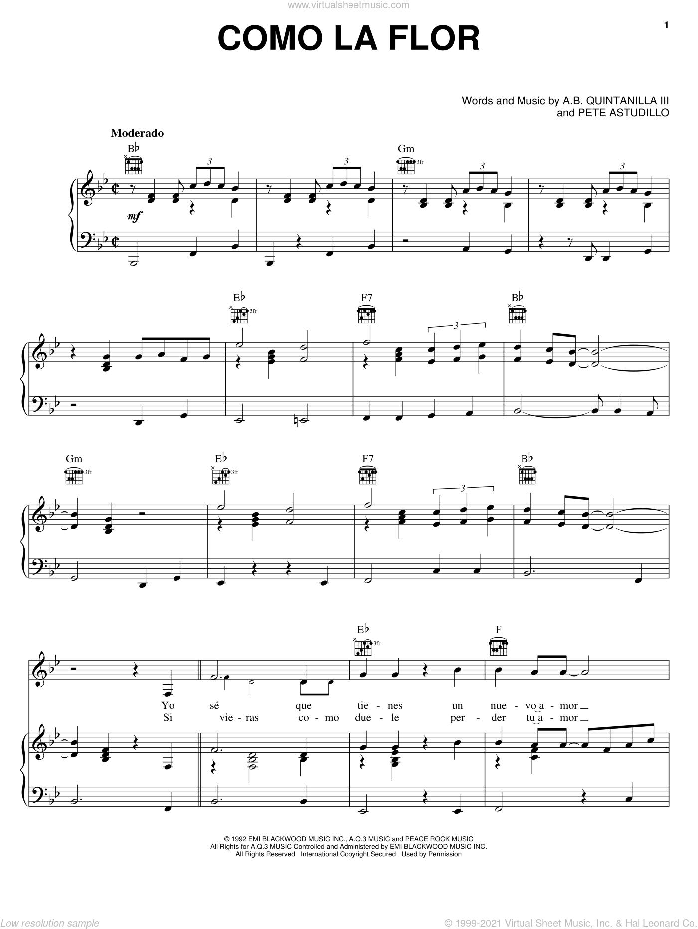 Como La Flor sheet music for voice, piano or guitar by Selena, Abe Quintanilla III and Pete Astudillo, intermediate skill level